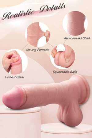 8 Inch Realistic Dildo with Moving Foreskin, Ultra-Lifelike Girthy Penis with Strong Suction Cup for Hands-Free Play, Flexible Cock Harness Compatible Sex Toys for Vaginal G-spot and Anal Play