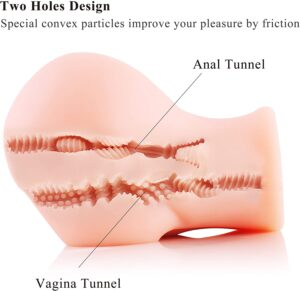 SINLOLI Pussy Anal Ass Male Masturbator with Built-in Stimulation Pearls for Intense Pleasure,Soft and Realistic Sex Toy for Man Masturbation